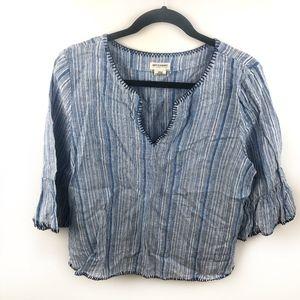 Artisan NY Linen Boho Blouse Striped